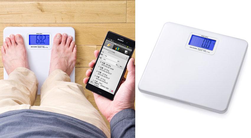 サンワサプライ、乗れば自動で体重記録、スマホで確認できるBluetooth内蔵の体重計を発売