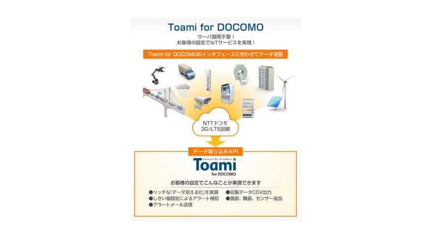 NSW、NTTドコモ向けにIoTクラウドサービスを開発。サーバアプリ開発不要、直感的操作を実現する「Toami for DOCOMO」がスタート。