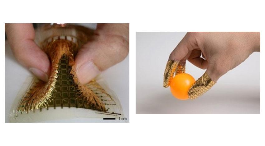 東京大学大学院工学系研究科、曲げても正確に測れる圧力センサーの開発に成功。ゴム手袋など柔らかな曲面上に装着しての計測が可能に。