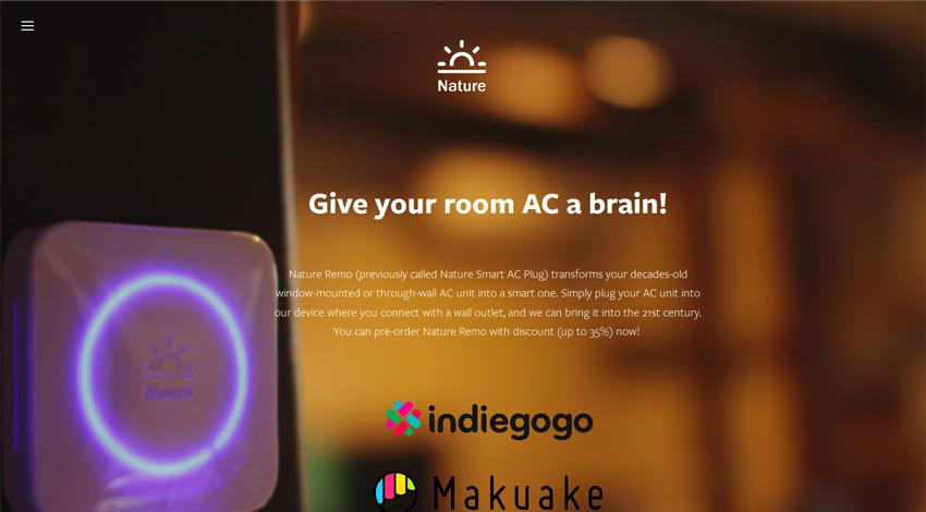 Nature、エアコンを外からスマホで操作できるスマートリモコン「Nature Remo」がMakuakeで24時間以内に目標金額100%の調達に成功