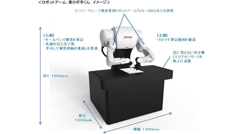 デンソー、解答代筆ロボットアーム「東ロボ手くん」を開発