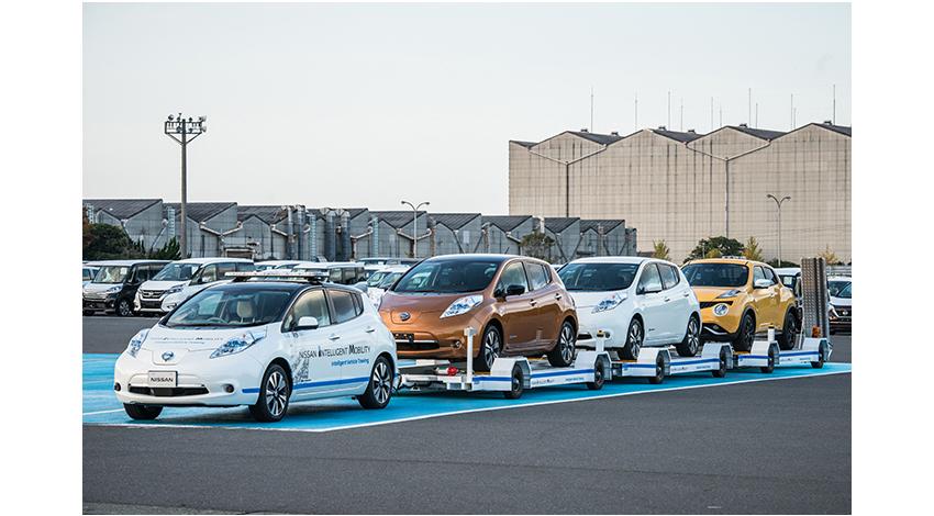 日産自動車、自動運転技術を活用した完成車の無人搬送システム 「Intelligent Vehicle Towing(インテリジェント ビークル トーイング)」を追浜工場に導入