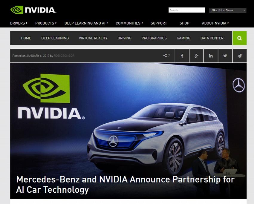 メルセデス・ベンツと NVIDIA、AI 自動車技術の提携を発表