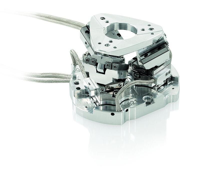 8cm X 7.3cm X 5cm 小型サブミクロン位置決め6軸ロボット ピエゾモータ駆動6軸ヘキサポットシステム Q-821 ( ドイツ Physik Instrumente )