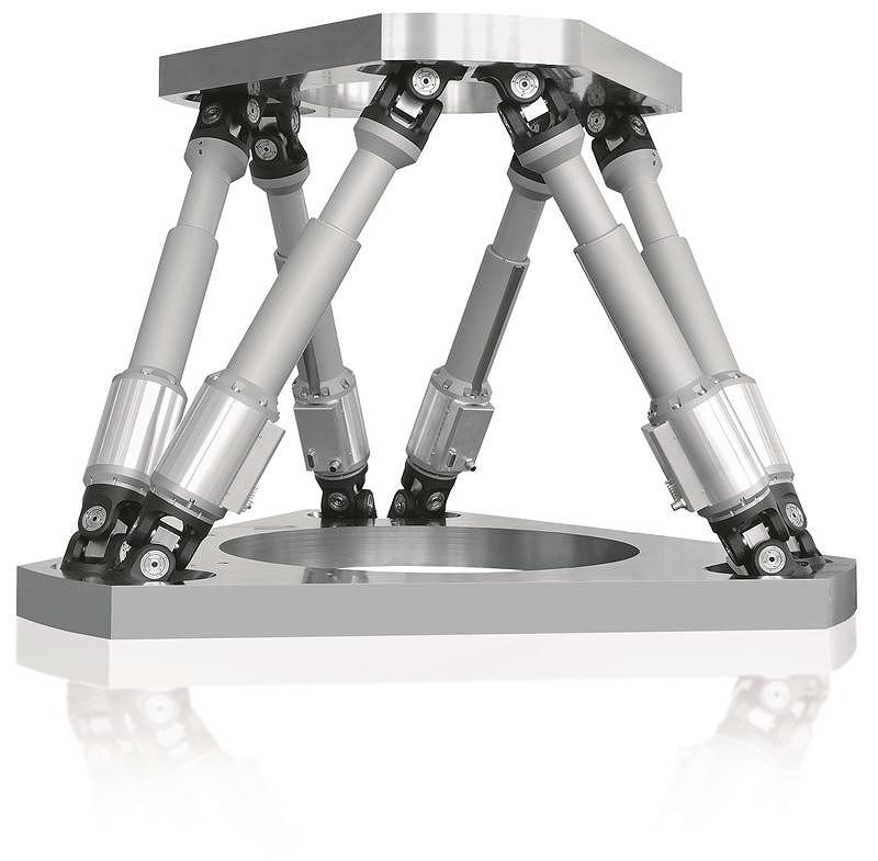 1トンまでをミクロンで位置決めできる6軸ロボット DCモータ駆動6軸ヘキサポットシステム H-845シリーズ ( ドイツPhysiki Instrumente社 )