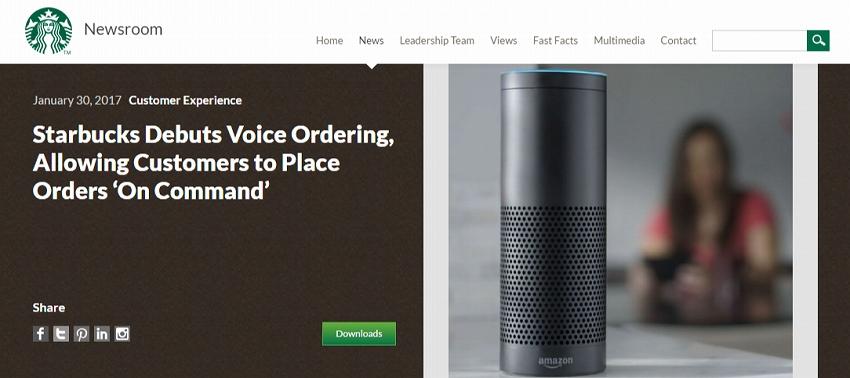 スターバックス、米国で音声注文展開を発表