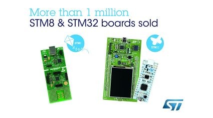 STマイクロエレクトロニクス、IoT機器の超小型スマート機器の開発が可能になるSTM32 / STM8マイコン開発キットの出荷数が100万枚を突破