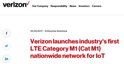 米Verizon、アメリカ全国に4G LTE Category M1を展開