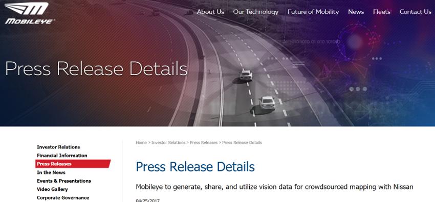 日産自動車、自動運転車用の高精度地図作成プロジェクトに参画