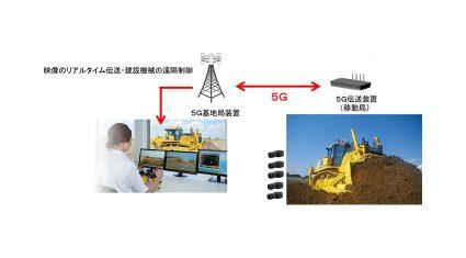 コマツとNTTドコモ、5Gを用いた建設・鉱山機械遠隔制御システムの開発に向けた実証実験を開始