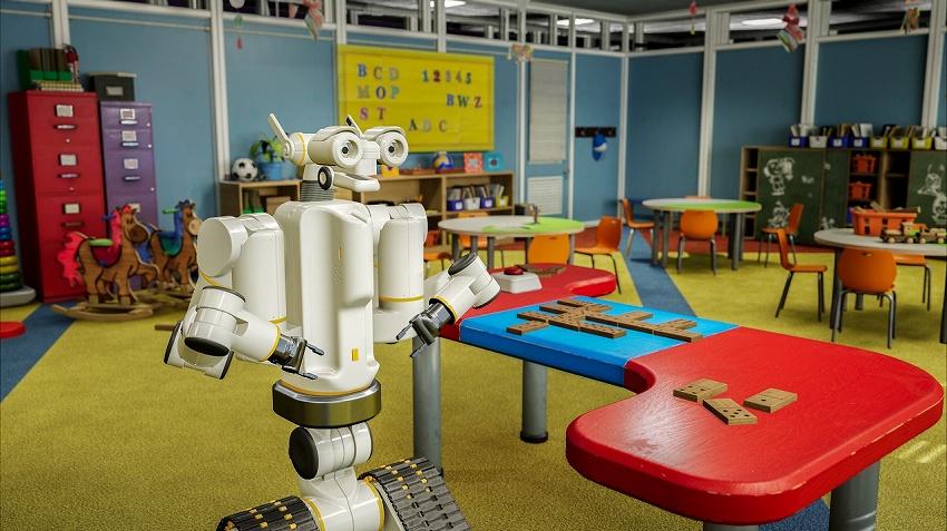 NVIDIA、SIGGRAPHの参加者が、仮想現実 (VR) と現実世界でIsaacのトレーニングを受けたロボットとドミノで対戦