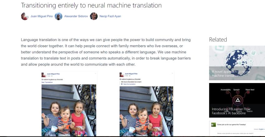 Facebook、ニューラル機械翻訳に完全に移行