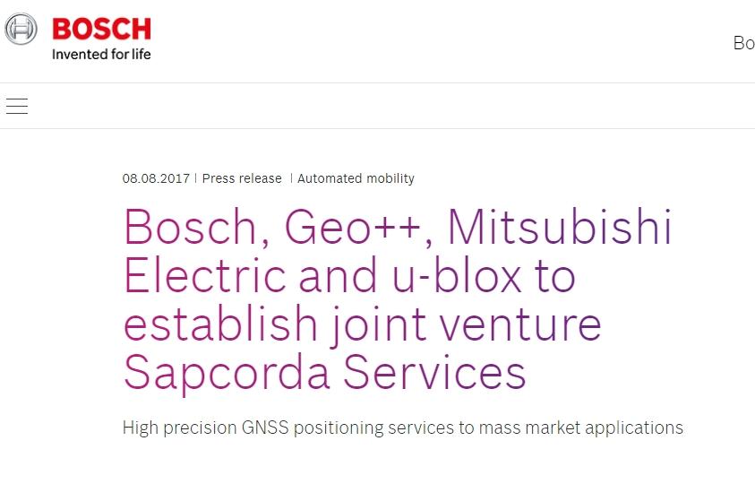 Bosch、Geo++、三菱電機、u-blox、高精度GNSS測位サービスを行う配信会社Sapcorda Services社を立ち上げ