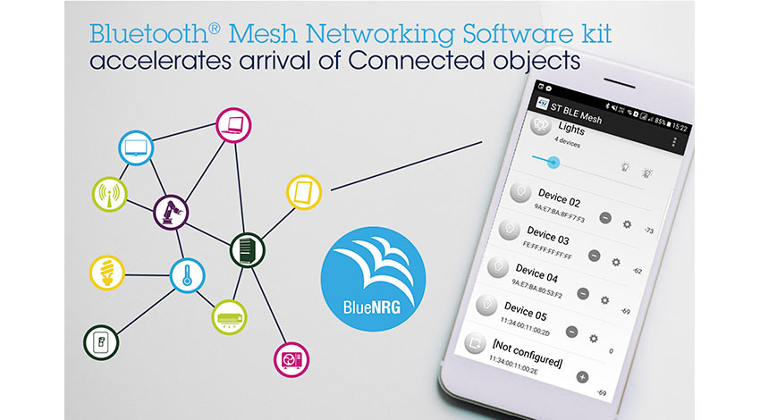 STマイクロエレクトロニクス、 Bluetoothメッシュネットワーク用ソフトウェア開発キットBlueNRG-MESHを発表