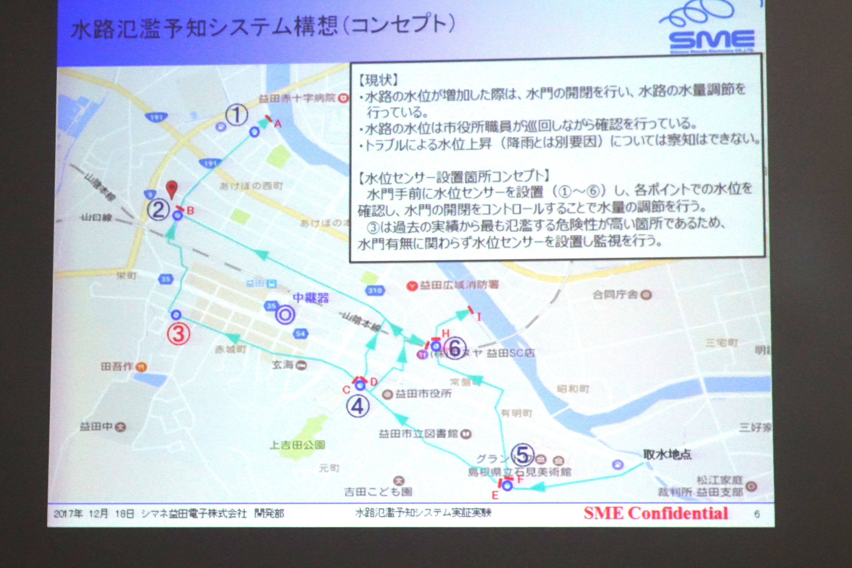 益田市を流れる用水路