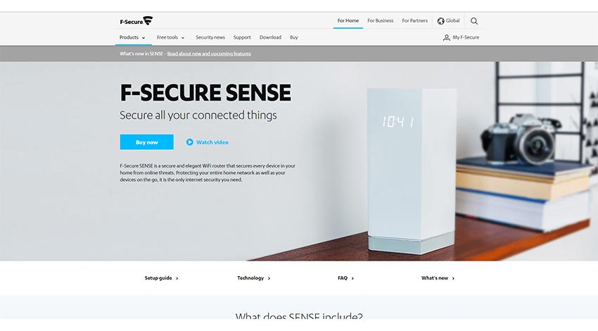 エフセキュア、IoTホームセキュリティWiFiルーター「F-Secure SENSE」を発表