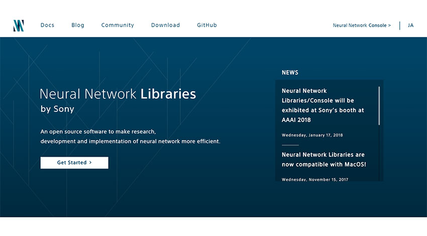 ソニー、ディープラーニングの統合開発環境Neural Network Console、クラウドサービスで複数GPUによる高速学習サービスの提供を開始