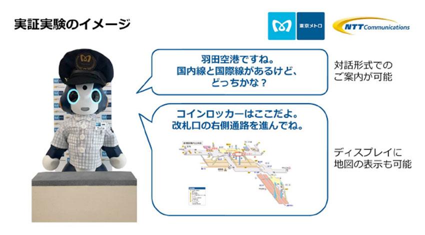 東京メトロとNTTコミュニケーションズ、AIとロボットを活用した利用者案内の実証実験を開始