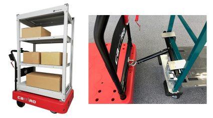 ZMP、物流支援ロボットCarriRoの棚オプションと牽引オプションの受注開始