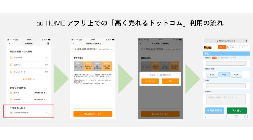 マーケットエンタープライズの買取機能がau HOMEに追加、家電をアプリで売却可能