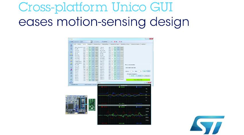 STマイクロエレクトロニクス、モーション検知機能の設計を簡略化する6軸モーション・センサ用「Unico GUI」を発表