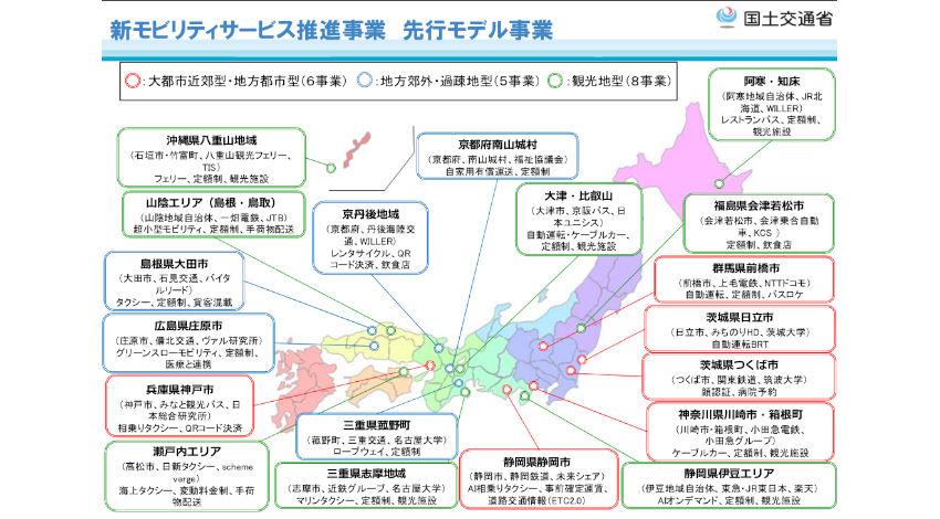 国土交通省、日本版MaaSの展開に向けて「新モビリティサービス推進事業」を19事業選定
