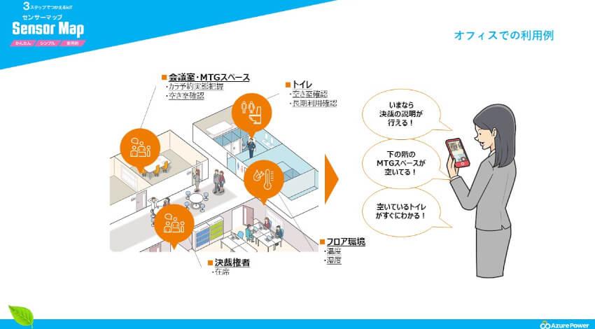 アジュールパワー、IoTでオフィス環境を改善する「センサーマップ」の提供でNTTドコモ・レンジャーシステムズと提携