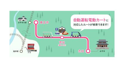 KDDIなど、永平寺町での「ラストマイル自動走行の実証評価」における自動運転電動カート対応のルートを提供