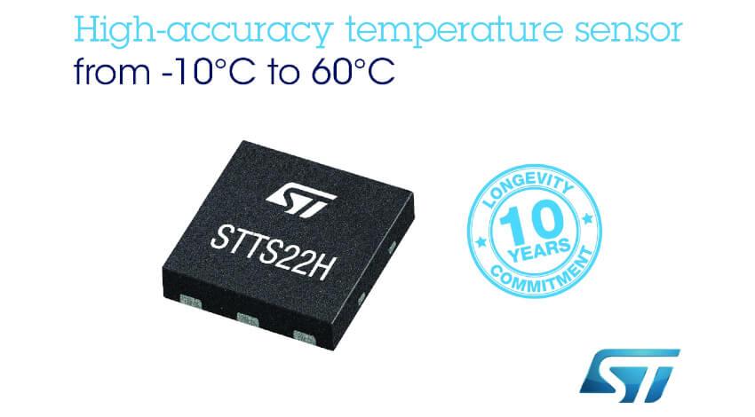 STマイクロエレクトロニクス、±0.25°Cの測定精度と省電力モードを持つ温度センサを発表