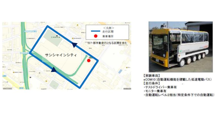 国土交通省、自動運転バスの実証実験を池袋で実施