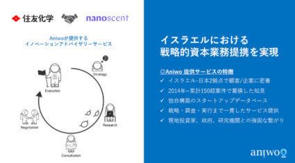 住友化学、イスラエルのAI・臭覚IoT開発を行うNanoScentと戦略的資本業務提携