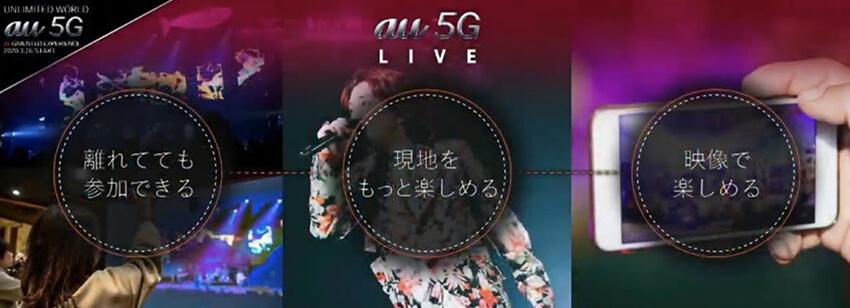 au 5G LIVEの主な取り組み3点