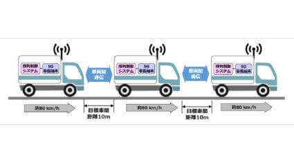 ソフトバンクとWCP、5G-NRの車両間通信を活用したトラック隊列走行の実証実験を新東名高速道路で実施