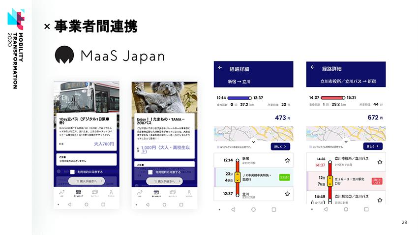 立川おでかけアプリの電子チケットや、経路案内の画面