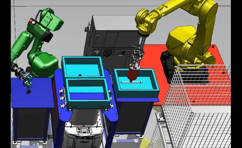 「ロボット型デジタルジョブショップ」において、各設備の稼働シミュレーションを行うデモンストレーションの画面