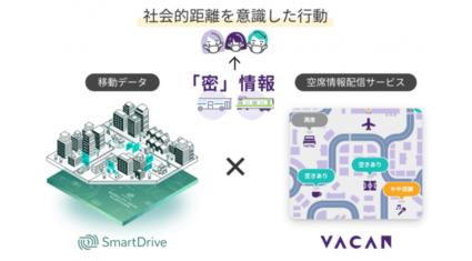 バカンとスマートドライブ、公共交通機関の密状態を可視化する取り組みを開始