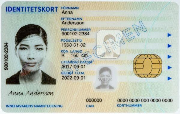 スウェーデンのIDカード、写真左の数字がパーソナル・ナンバー