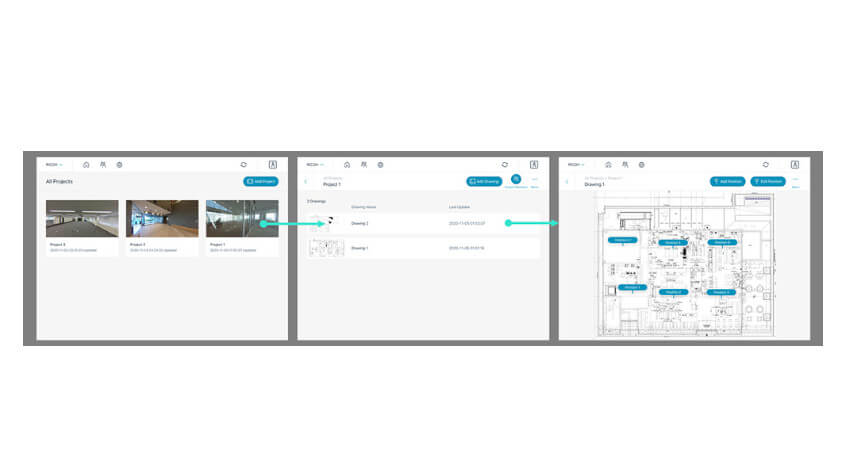 リコー、360°画像データを活用して建設現場の状況共有を効率化する「RICOH360 Projects」を提供開始