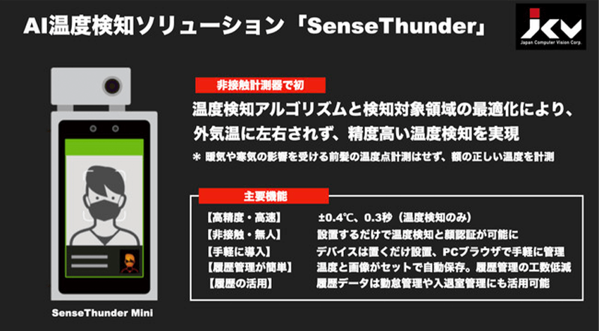 JCV、AIを活用した非接触温度計測器「SenseThunder」に外気温の影響を軽減する機能を追加