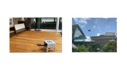 ドコモと近畿大学、屋内外両用ドローンによる自動巡回警備の実証に成功