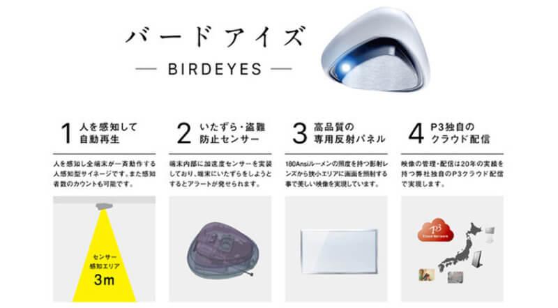 ピースリー、天井設置型の映像照射サイネージ新製品「BIRD EYES」の予約販売開始