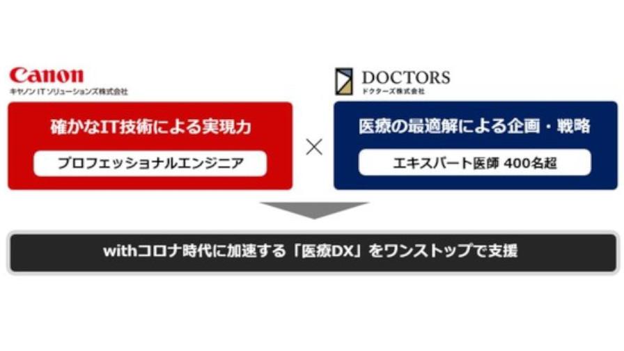 キヤノンITSとドクターズ、クラウドを活用した臨床現場目線の医療・デジタルヘルスサービスの支援に向けて協業
