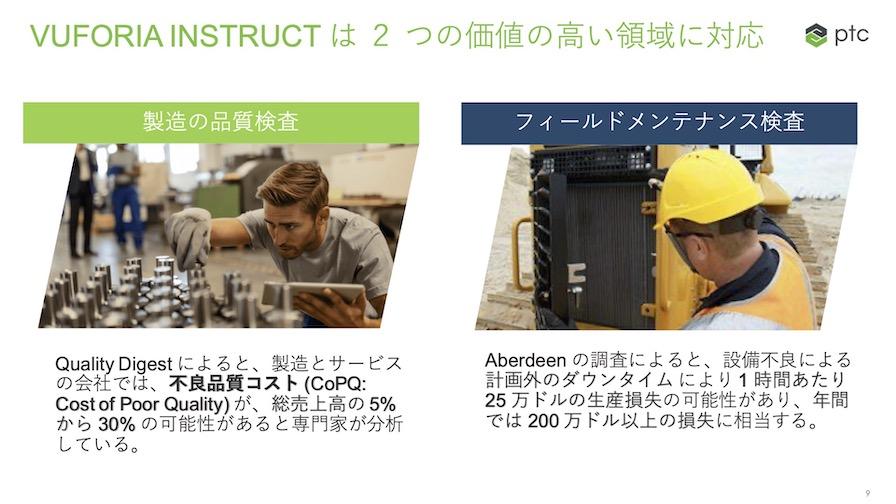 PTCのVuforia instruct は製造の品質検査とフィールドメンテナンス検査に対して高い価値を発揮する。
