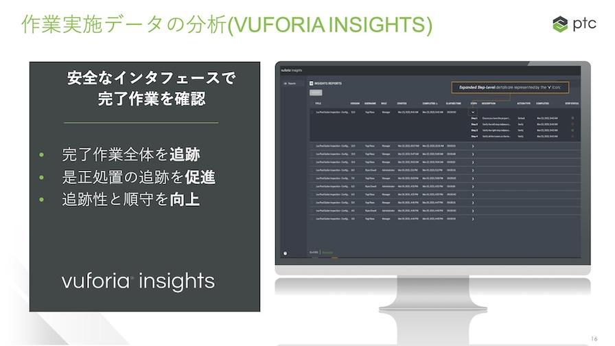 「Vuforia Insight」の完了作業の確認などを行うUI画面。ウェブブラウザからアクセス可能で、検査結果を閲覧することができる。