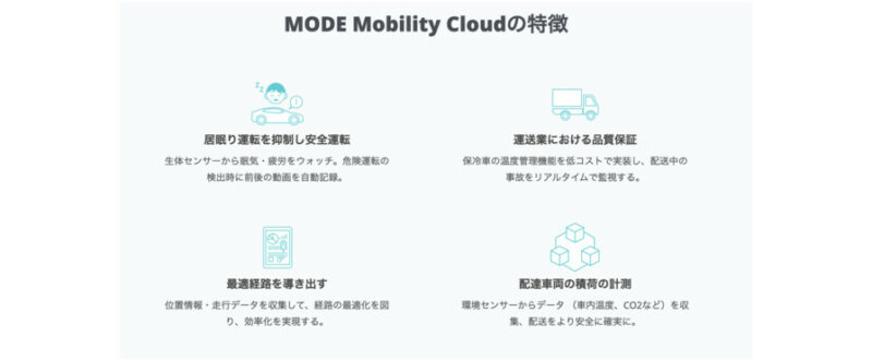 MODE、車両向けデータ収集ソリューション「MODE Mobility Cloud」に新機能「安全運転KPI」を追加