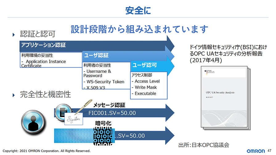 OPC UAには、セキュリティ対策が設計段階から組み込まれている。