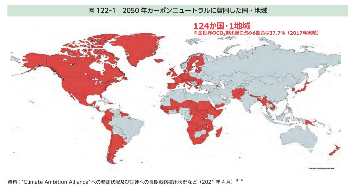 地図上に塗られた赤色は、2050年カーボンニュートラルに賛同した全124カ国・1地域を表している。