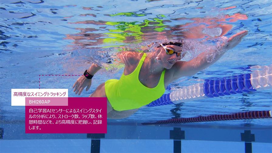 スイミングトラッキング。ストロークや泳法を検知することができる。