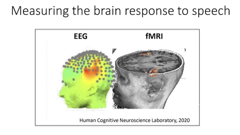 人が文章を聞いているとき、脳がどのように活動しているかを、EEGとfMRIでの両方で測定した例である。