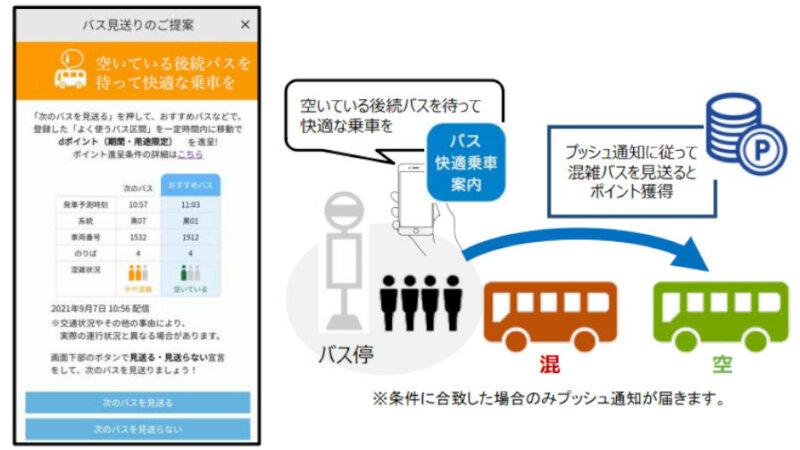 ドコモと東急バス、バス車内の混雑平準化に向けた実証実験用アプリ「バス快適乗車案内」を提供開始
